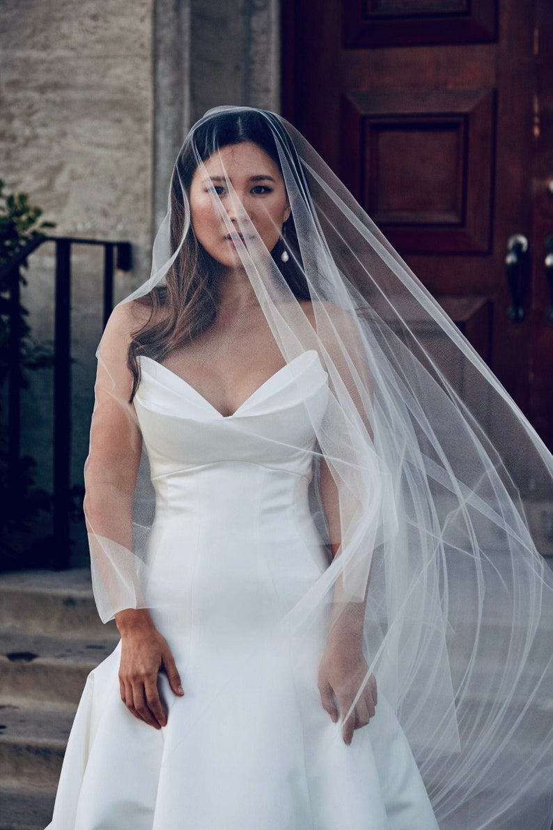 Sheer Drop Bridal Veil with Waist length blusher Cathedral image 0