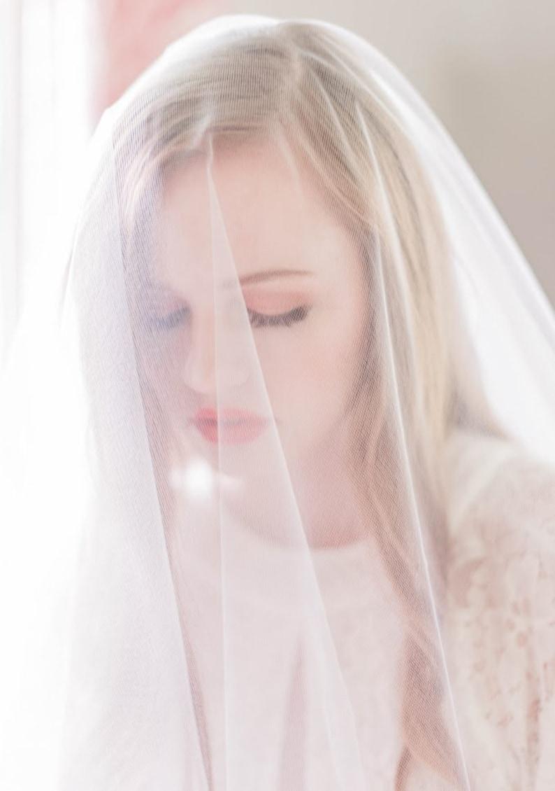 Sheer Drop Illusion Wedding Veil Blusher Veil Bridal Veil image 0