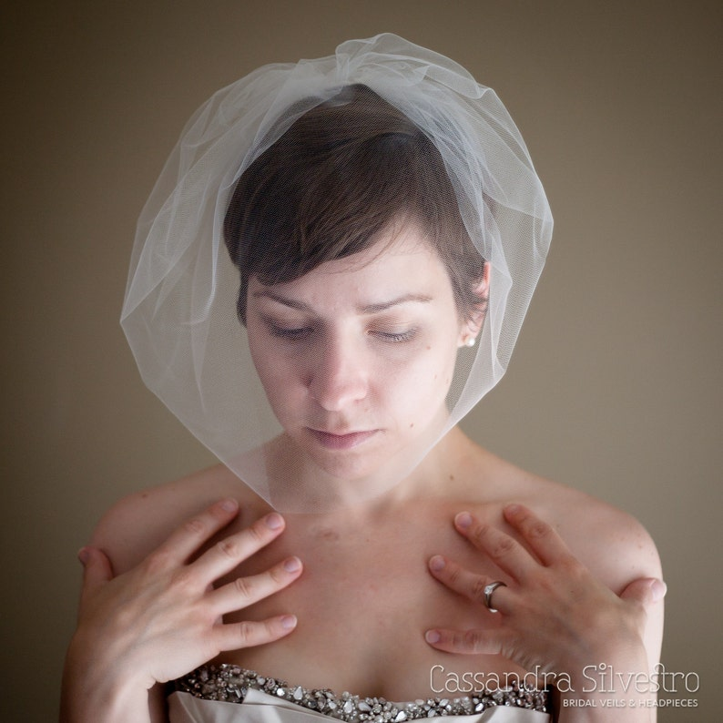 Large Tulle Birdcage Wedding Veil Blusher Veil Mini Veil image 0
