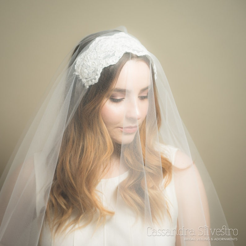 Lace Juliet Sheer Drop Wedding Veil Blusher Veil Bridal image 0