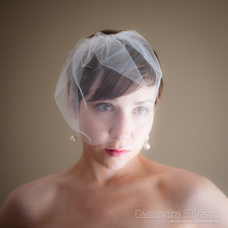 Small Tulle Birdcage Wedding Veil Blusher Veil Mini Veil image 0