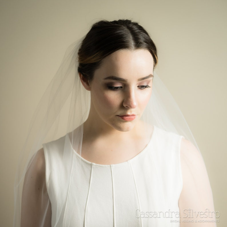 Single Layer Illusion Tulle Wedding Veil Bridal Veil image 0