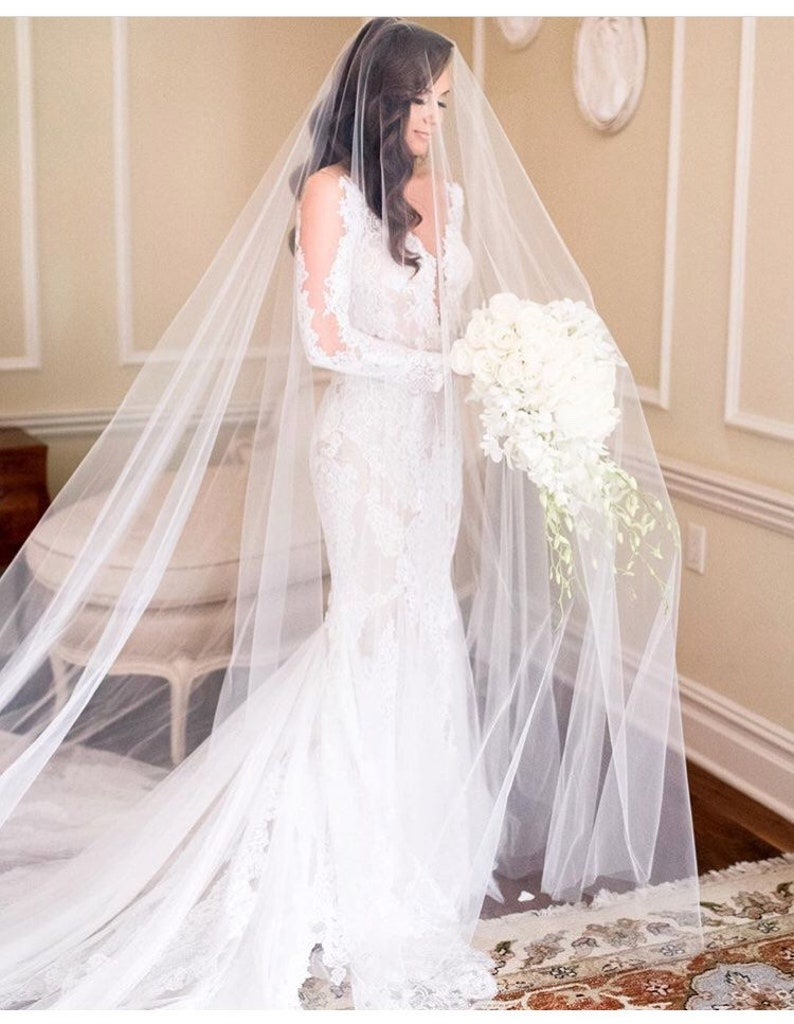 Long Blusher Sheer Drop Wedding Veil Cathedral Veil