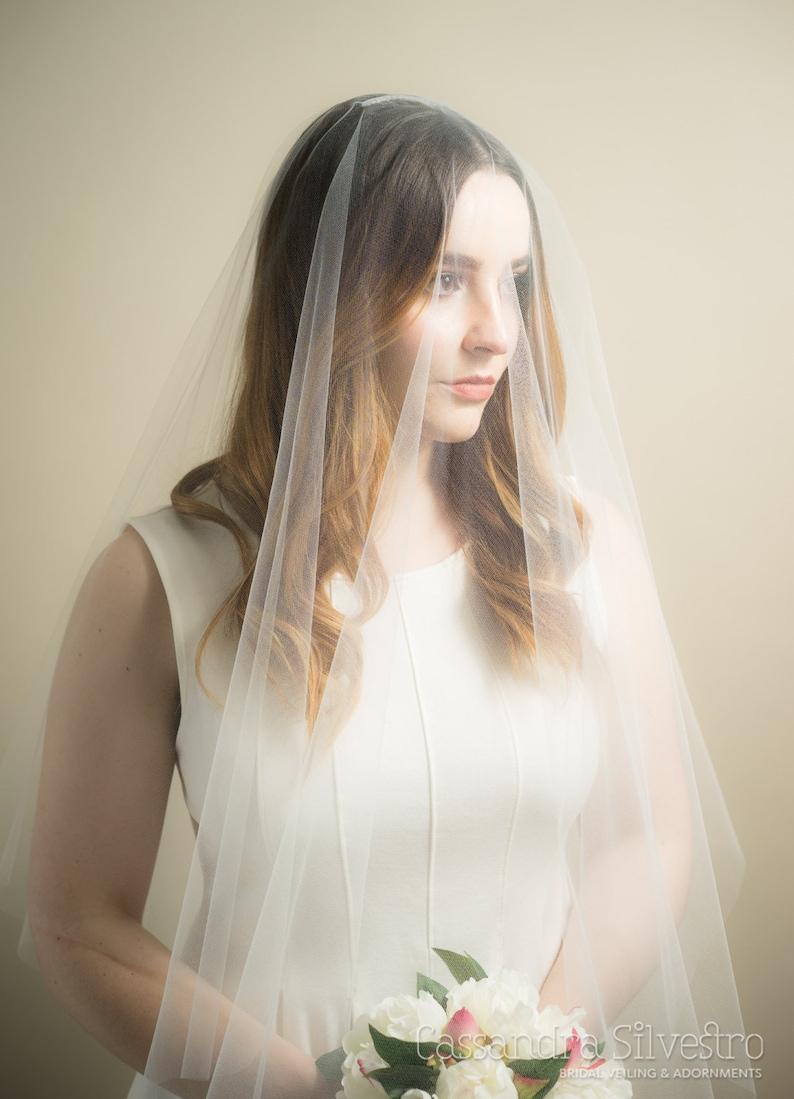 Sheer Drop Illusion Wedding Veil image 0