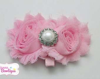 Pink shabby hairclip, baby girl hairclip, shabby hairclip, newborn hairclip