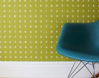 Word Search Wallpaper Roll - Kids Room Wallpaper - Green Nursery Decor - Sugar and Spice - Slugs and Snails - Sugar and Slugs - Sap