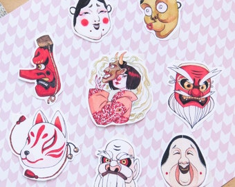 STICKER PACK - Japanese mask sticker set 8 vinyl stickers Japan themed