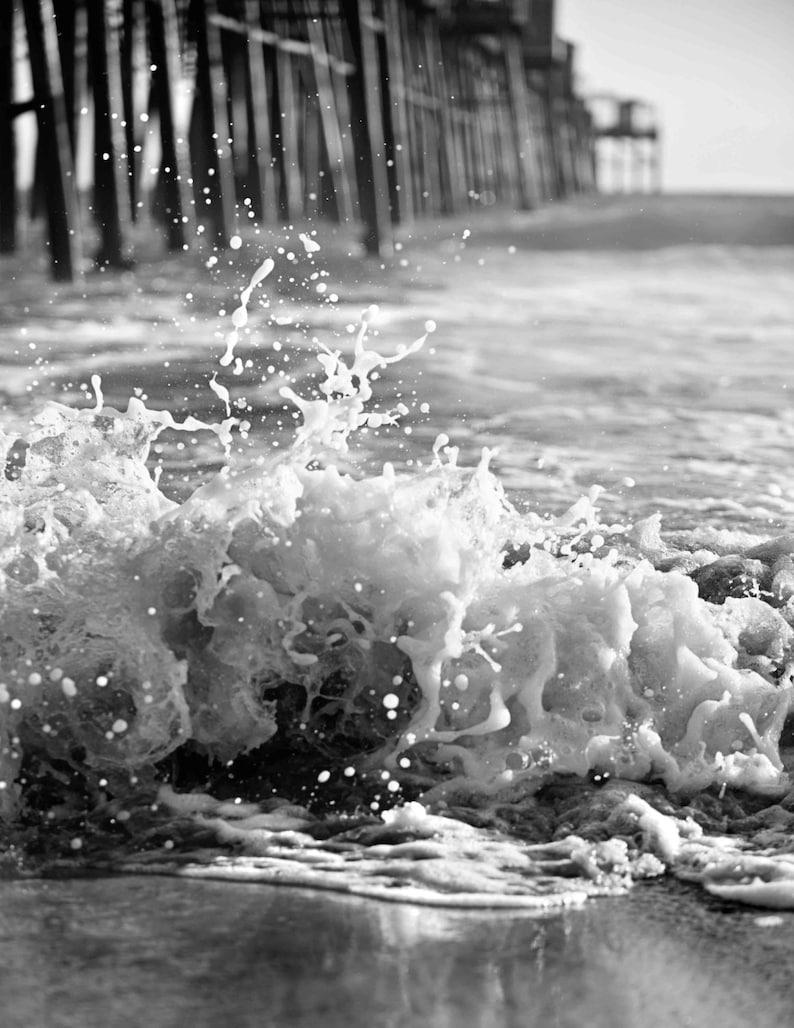 Black and white pier ocean photography wave splash texture beach coastal san diego california photo print