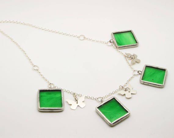 Green Square Butterfly Necklace