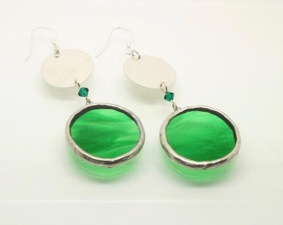 Green Glass Circle Earrings, Silver Circle Earrings, Swarovski Crystals, Long Earrings, Gift for Her, Emerald Earrings, Unique Jewellery