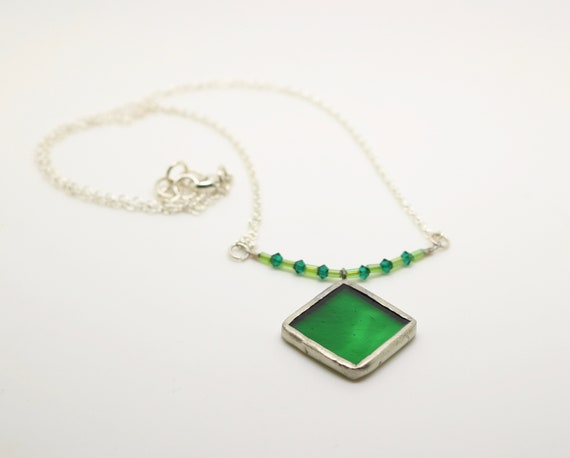 Green Diamond Necklace with Beads
