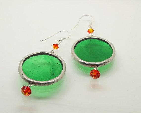 Green Circle Glass and Orange Bead Earrings