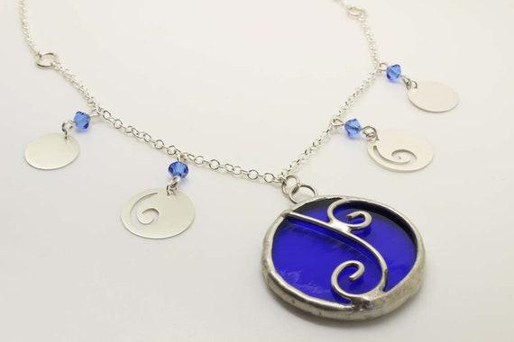 Blue & Silver Swirls Necklace