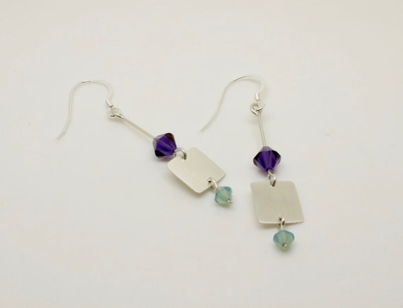 Purple and Turquoise Square Silver Drop Earrings