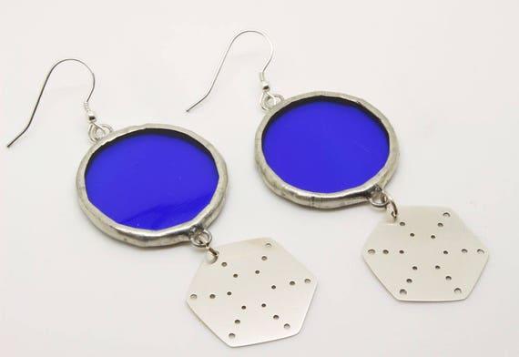 Blue Hexagon Earrings