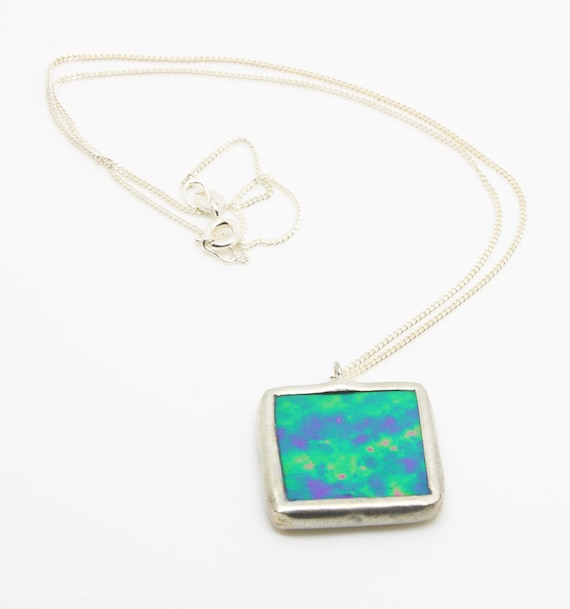 Green Iridescent Square Necklace