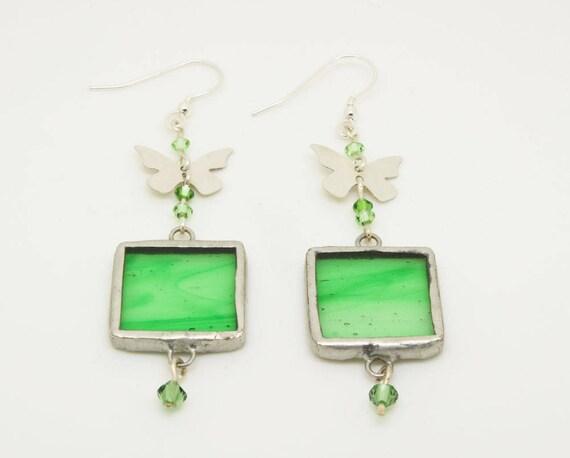 Green Square Butterfly Earrings
