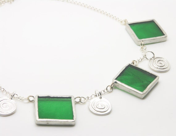 Green Squares Necklace with Silver Clay Swirls