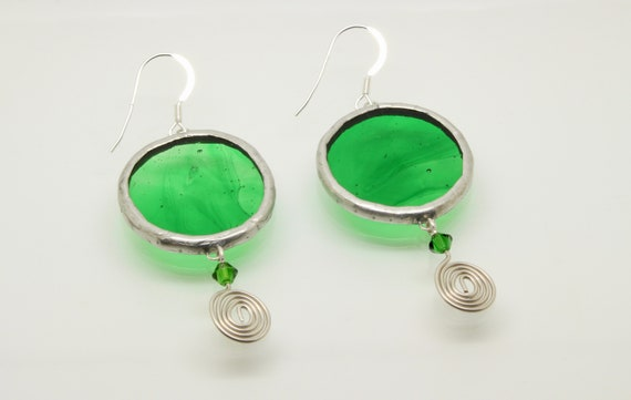 Green Circle Earrings with Silver Wire Coil