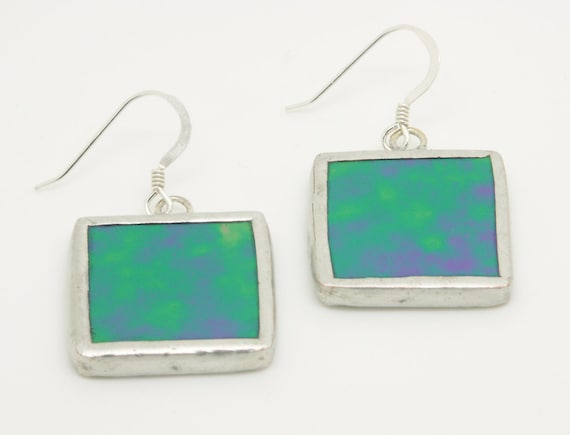 Green Iridescent Square Earrings