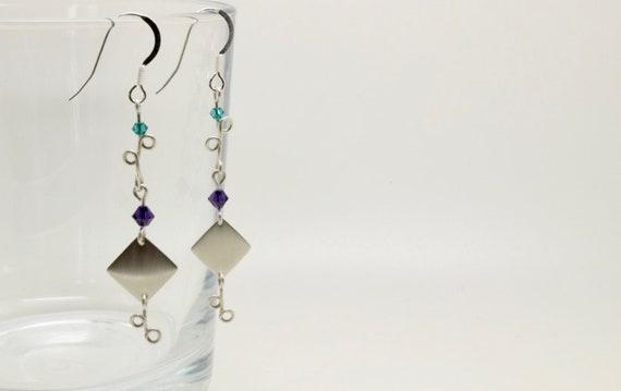 Silver Diamond Vine Wire Earrings