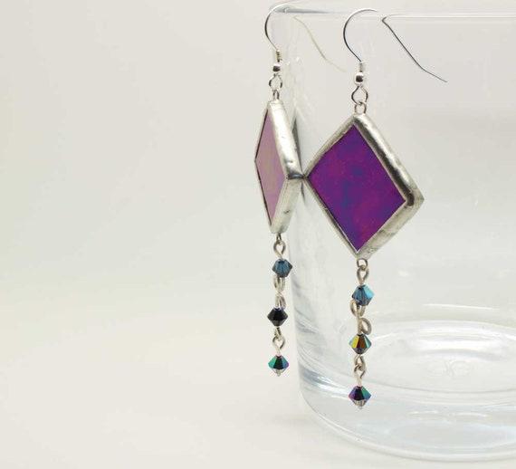 Purple Iridescent Diamond Earrings with Swarovski Crystal Beads on Wire
