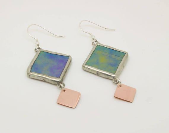 Iridescent Copper Diamond Earrings