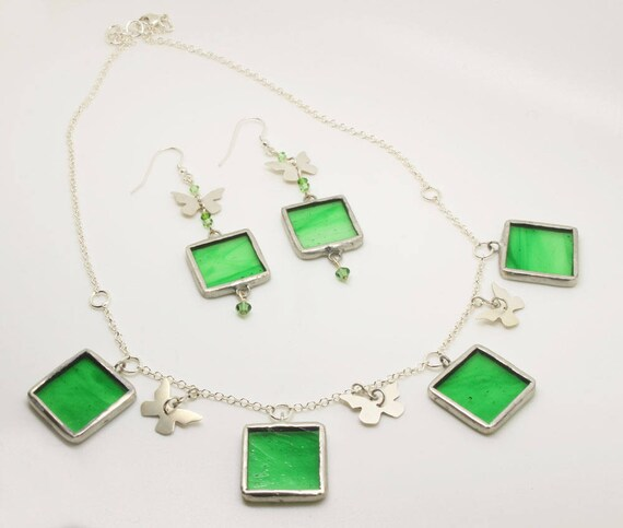 Green Square Butterfly Jewellery Set