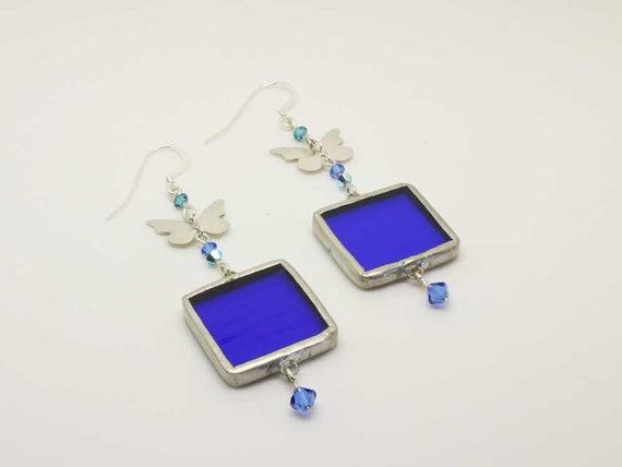 Blue Square Butterfly Earrings