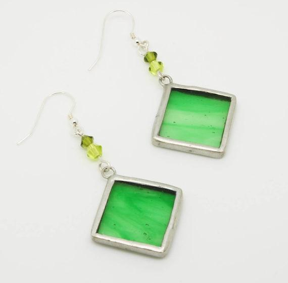 Green Diamond Earrings with Beads