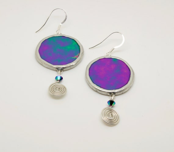 Purple Iridescent Glass Circle Earrings with Silver Wire Coil