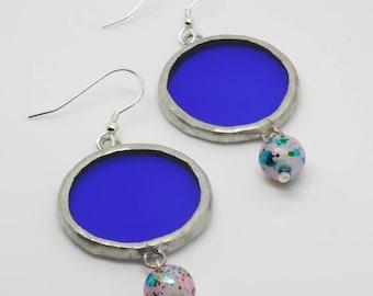 Blue Circle Earrings, Glass Earrings, Blue Earrings, Electric Blue, Turquoise Earrings, Beaded Jewellery, Sterling Silver, Gift for Her