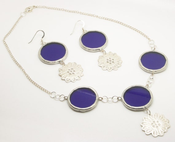 Blue Silver Clay Flower Jewellery Set