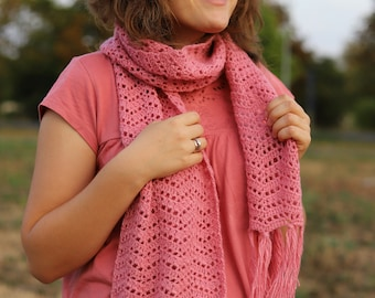 PDF Pink Lace Scarf - crochet pattern by gull808 - Denise scarf - scarf pattern autumn gift for her tutorial crocheting instant download diy