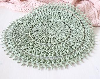 Light green crochet doily Carlotta, designed by Grace Fearon, texture doily, tablecloth, doilies, vintage decor, shabby home, Christmas gift