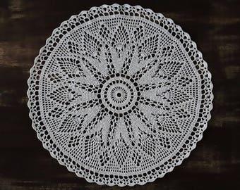 "White doily 15"" 37 cm, round, white, lace, crochet, doily, tablecloth, decor, interior, design, boho, shaby, village style, gift, decoration"