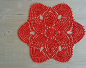 """SALE Orange doily 14"""" Hello Fall 35 cm, flower, orange, sun, boho, shabby, village style, gift, decor, doily, crocheted, crochet, sweet home"""