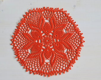 "Orange doily 11"" 27 cm, orange, doily, tablecloth, boho, shabby, hygge, lace, gift, decor, interior, design home crochet handmade sweet"