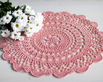 """Pink crochet doily, 15"""" 38 cm, vintage style decor, 100% cotton"""