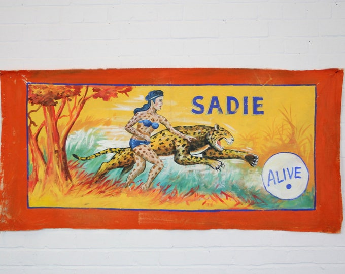 """Oil On Canvas Circus Sideshow Banner """"Wild Woman"""""""
