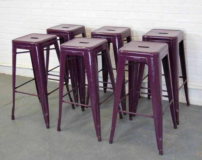 Aubergine Stacking Stools By Xavier Pauchard For Tolix Circa 1960s