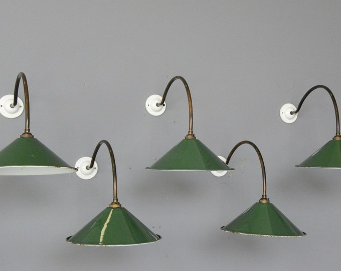 Wall Mounted Porcelain And Copper Lights Circa 1920s