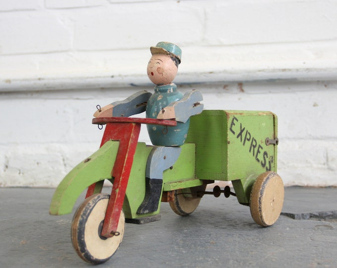 Scratch Built Wooden Toy Delivery Man Circa 1930s