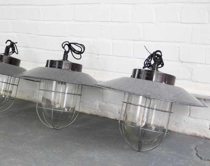 Czech Industrial Factory Lights Circa 1940s