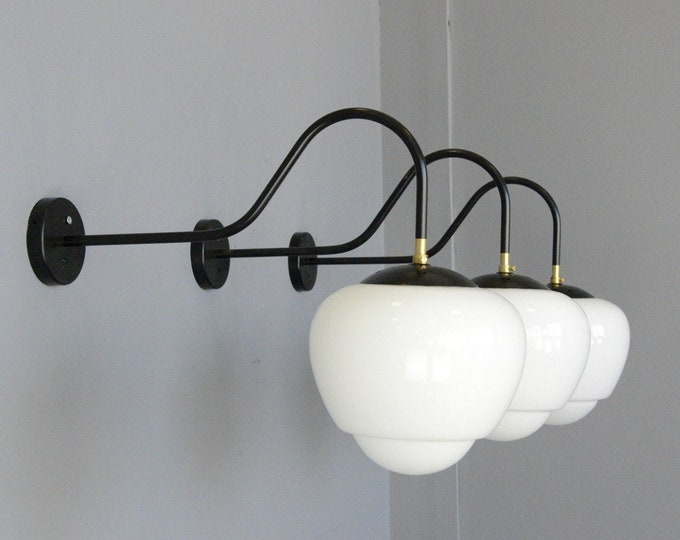Czech Teardrop Opaline Wall Lights Circa 1940s