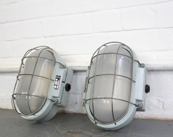 Czech Industrial Wall Mounted Bulkhead Lights Circa 1960s
