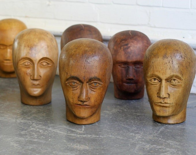 Early 20th Century Carved Milliners Heads Circa 1900