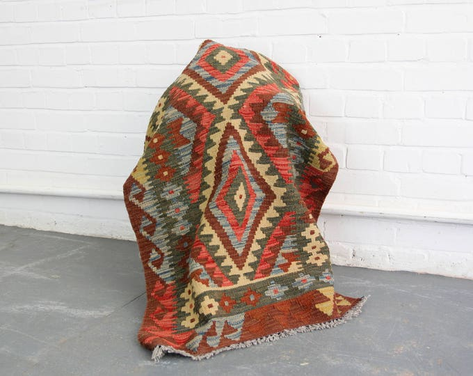 Beautiful Hand Woven Kilim Runner Rug Circa 1920s
