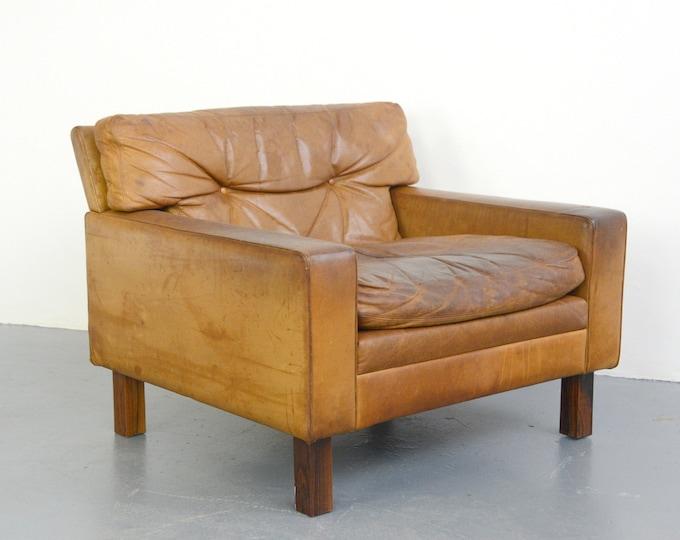 Mid Century Swedish Leather Tub Chair Circa 1950s