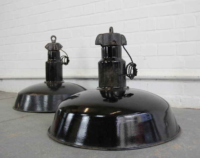 Large German Industrial Factory Pendant Lights Circa 1920s